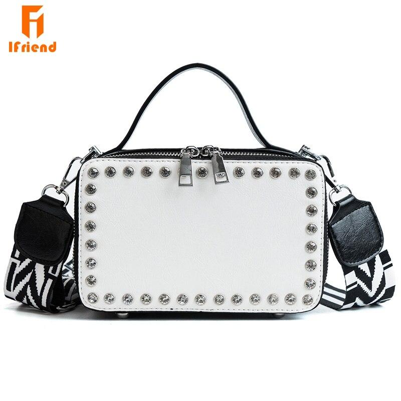 Ifriend 新 Pu レザーリベットクロスボディショルダーバッグ小フラップメッセンジャーバッグ女性ハンドバッグ Bolso デ mujer  グループ上の スーツケース & バッグ からの ショッピングバッグ の中 1