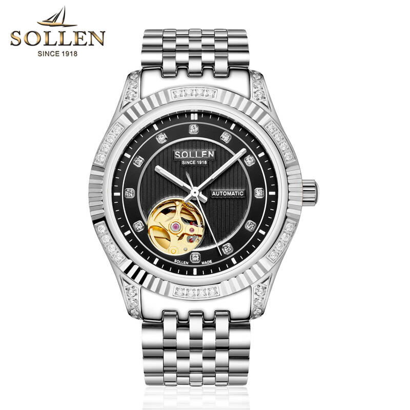SOLLEN watches men luxury brand japan MIYOTA skeleton automatic mechanical business Luminous diamond black stainless steel карабин black diamond black diamond rocklock twistlock