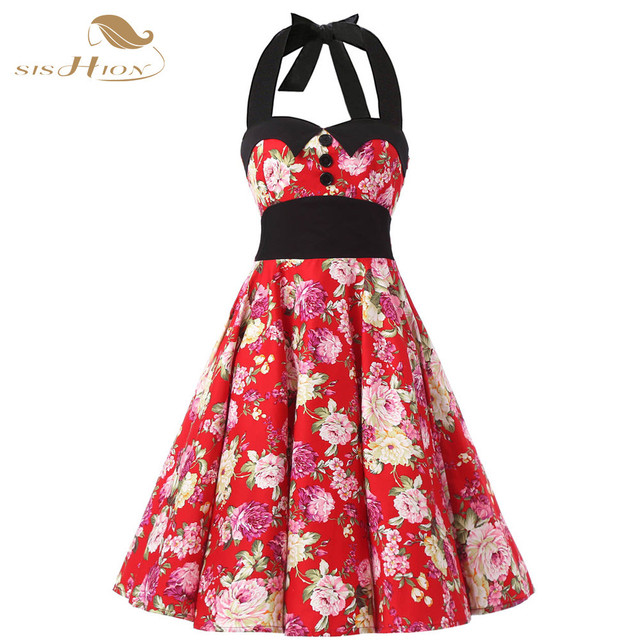 Summer Dress 2017 Halter Sleeveless Elastic Back Retro Rockabilly 60s 50s Vintage  Dresses Swing Floral Pinup Party Gown VD0251F 0896e1d4fb3