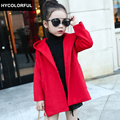 2017 Children Clothing Winter Jackets Girls Wool Coat High-end Woolen Blends Cashmere Medium-long Wool Coat Girl 3-15y