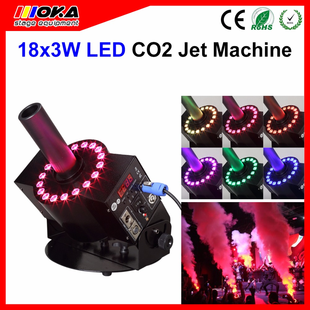 18pics*3W Led lamps RGB color DMX 512 Switchable Co2 Jet Machine Led Co2 Jet Fog Blast Special Effects with hose