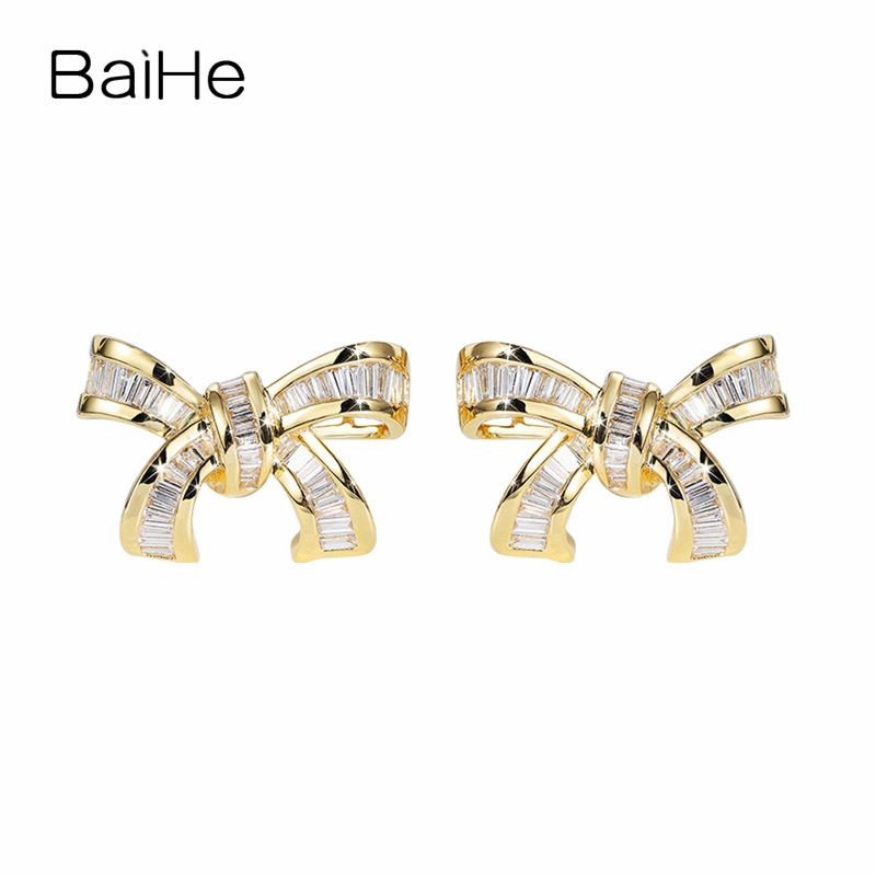 BAIHE Solid 14K Yellow Gold(AU750) 0.60ct Square H/SI 100% Genuine Natural Diamonds Women Trendy Fine Jewelry Stud Earrings