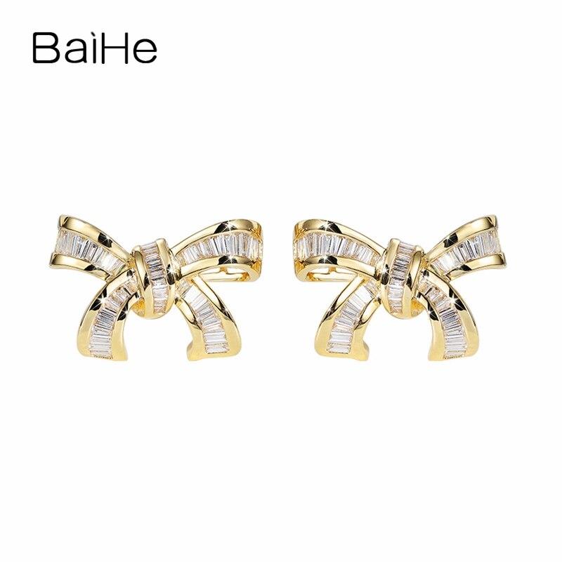BAIHE Solid 14K Yellow Gold(AU750) 0.60ct Square F G/SI 100% Genuine Natural Diamonds Women Trendy Fine Jewelry Stud Earrings