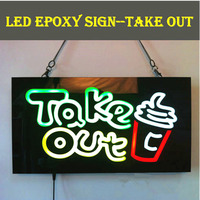 TAKE OUT OPEN SIGN Epoxy Resin Glow Card Luminous Tags Animated Motion Display Flashing On Off
