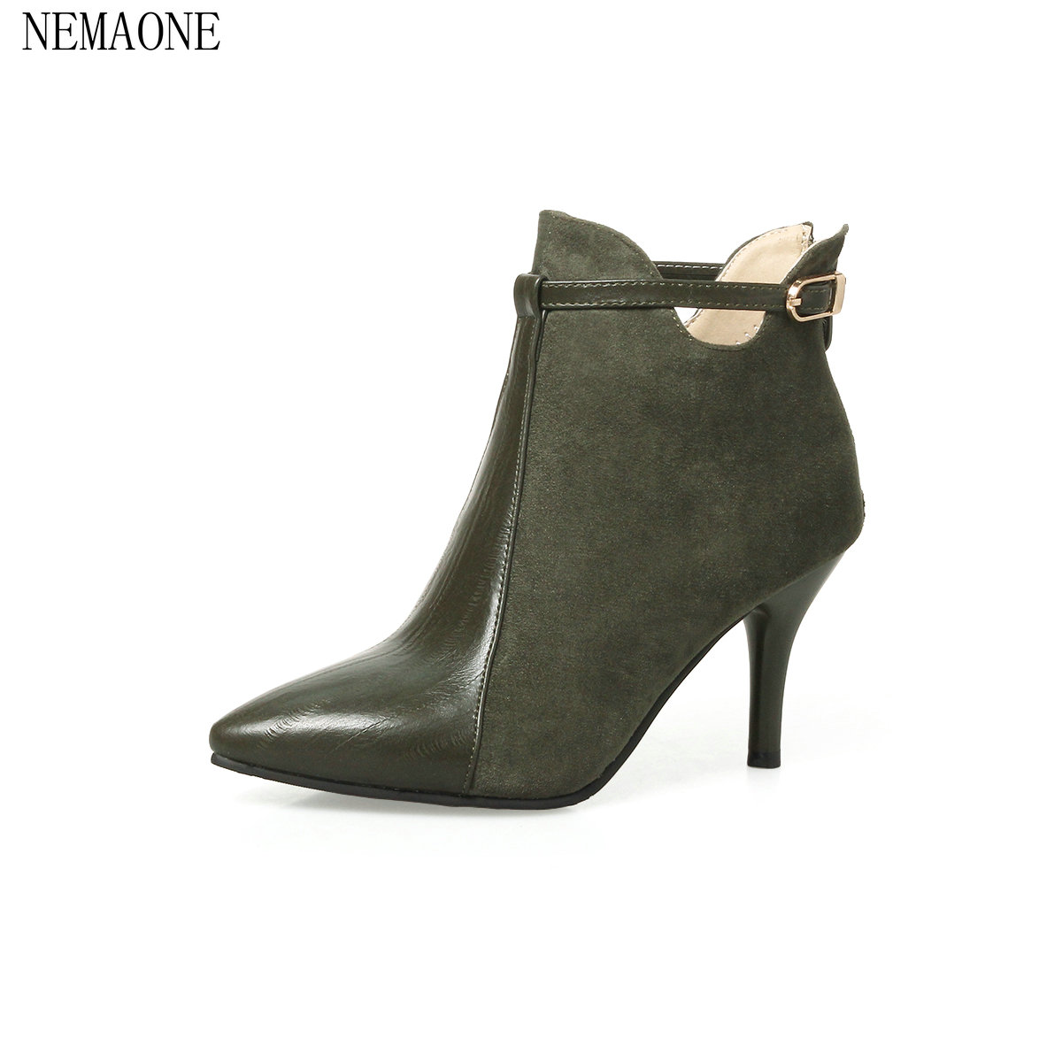 NEMAONE 2018 Women autumn Ankle Boots Fashion Bow Tie Thin High Heel Pointed Toe Zipper Deisgn Women Ankle Boots Size 33-43 nemaone 2018 women ankle boots square high heel pointed toe zipper fashion all match spring and autumn ladies boots
