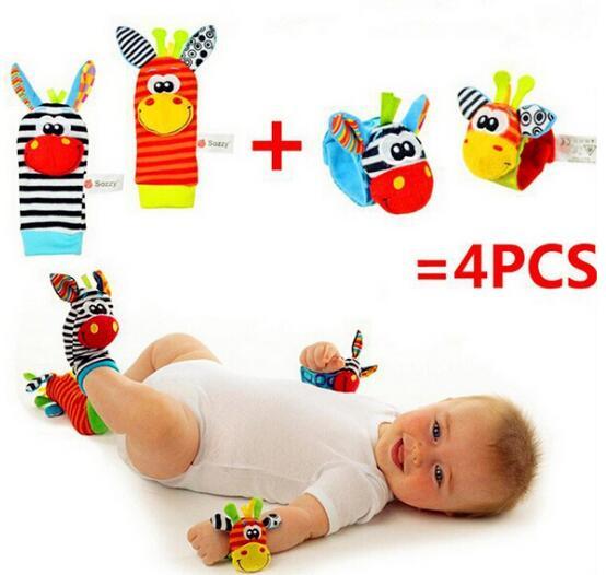 JJOVCE 4pcs 2 pcs lot baby rattle toys Sozzy Wrist Socks