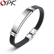 4dbcfe403ea5 OPK envío Engravable hombres pulsera ID brazalete saludable energía negro  piedra terapia magnética pulsera de silicona