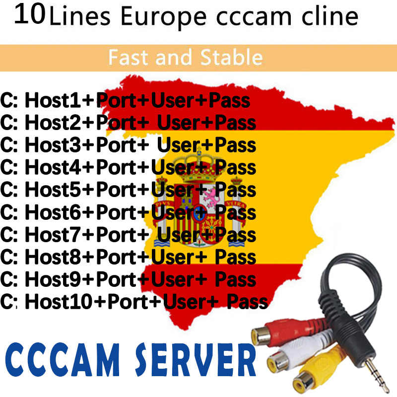 2019 Cccams 10 lines stable 1 Year for Europe ccam Spain Portugal Germany Poland Italy satellite TV receiver far working flawl