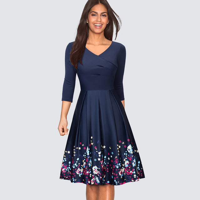 d82a4106026f Women Casual Fit And Flare Swing Skater Party Dress Elegant Floral Print  Work Business Office Dress HA129