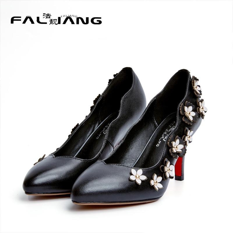ФОТО 2017 New Genuine Leather Casual Pointed Toe Pumps Big Size 11 12 Elegant Flower Thin Heel women shoes woman ladies womens