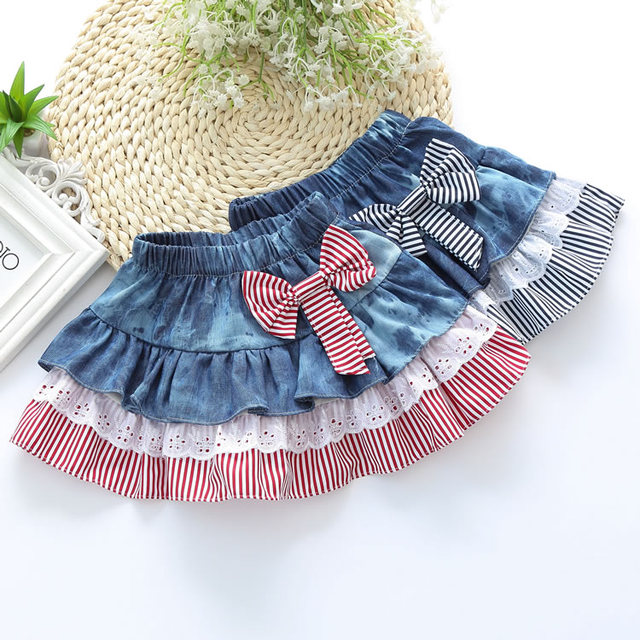 Girls Denim Skirts Striped Lace Bow Pleated Multilayers Skirt Cute Baby Girl WInter Autumn Kids Clothing Children Clothes