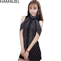 HAMALIEL Luxury Designer Sheath Women Party Dress Runway Autumn Sexy Off Shoulder Beading Diamonds Bodycon Pencil Short Dress