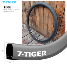 7-Tiger Carbon Road bike rims 50mm clincher ud matte front 20 holes rear 24 holes 25mm bike wheelset rim