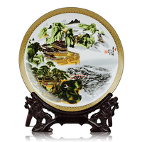Jingdezhen Ceramic Landscape Hang Dish Plate Yellow Crane Tower Porcelain Decorative Plate Metope For Living Room Hotel