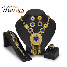 цены MUKUN African Beads Jewelry Set Creative Charm Women Wedding Engagement Jewellery Crystal Necklace Ring Earrings 4PC/Set Gifts