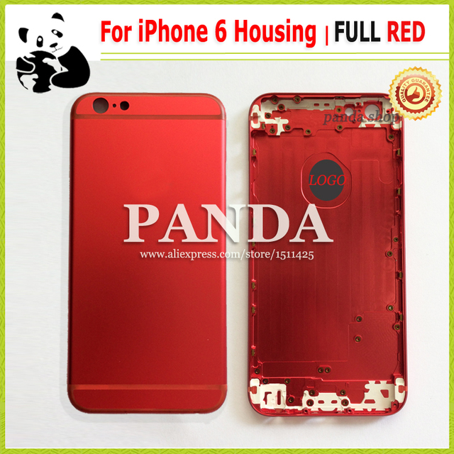 new style 345b9 21605 US $35.2 |100% PANDA Shop Custom Design For iPhone 6 Full Red Housing Metal  Back Cover Battery Door Middle Frame With Red Sim Tray Buttons on ...