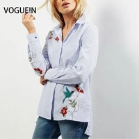 VOGUE N New Womens Ladies Striped Print Floral Bird Embroidered Lapel Blouse Tops Shirt Size SML