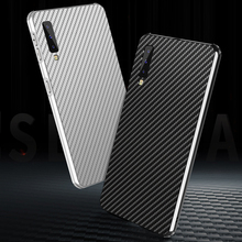 Luxury Aluminum Metal Case For Samsung A7 2018 A 7 A750F A750 SM-A750F Carbon Fiber Back Cover for
