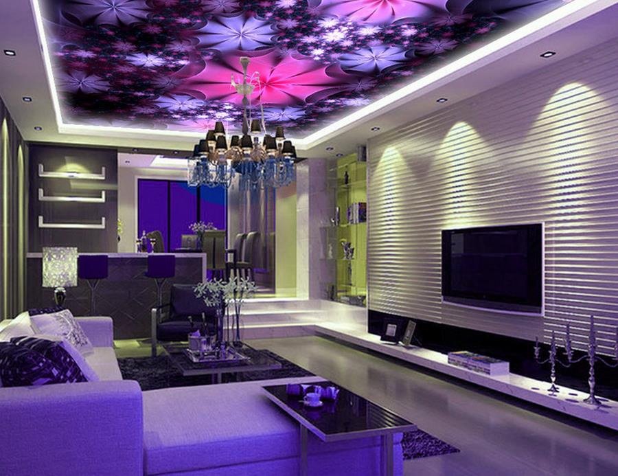 ФОТО custom wallpapers for living room 3 d ceiling Purple dream of beautiful 3d ceiling photo wall mural luxury 3d ceiling wallpaper