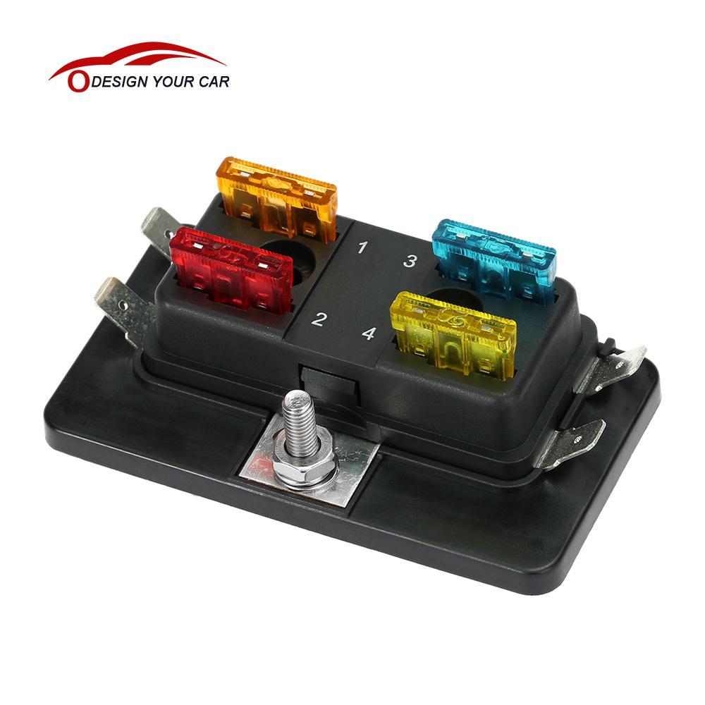 car-styling 4 Way Blade car Fuse Box Holder Standard 6.3mm Spade Terminals  Maximun