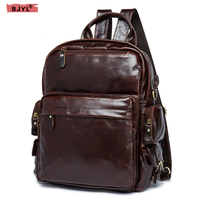 BJYL men and women Backpack retro leather backpack head layer of leather casual shoulder Bag oil wrapped Leather travel Backpack new genuine leather women oil nubuck retro women backpack casual backpack casual shoulder bag bucket bag a4625