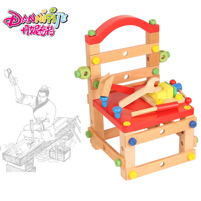 DANNIQITE wooden Multifunctional chairs wire nut assembly disassembly tool combination building blocks educational toys new arrival nut assembly tool box 68pcs baby wooden toys child educational garden tool toys nut combination chirstmas gift