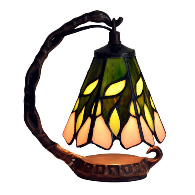 Antique European Style Creative Stained Glass Metal Edison LED Desk Table Lamp Light Cafe Restaurant Table Decoration Lighting