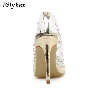 Image 4 - Eilyken sapato feminino transparente, salto alto pvc com strass, sexy, para festa de casamento, tamanho 41, primavera/outono