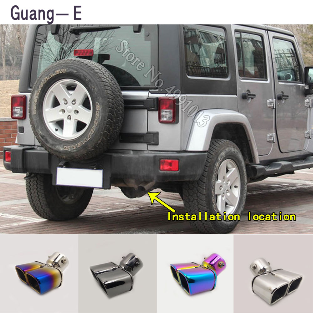 For Jeep Wrangler 2008 2015 car stickers cover muffler exterior back end pipe dedicate exhaust tip tail outlet ornament 1pcs Exhaust Manifolds     - title=