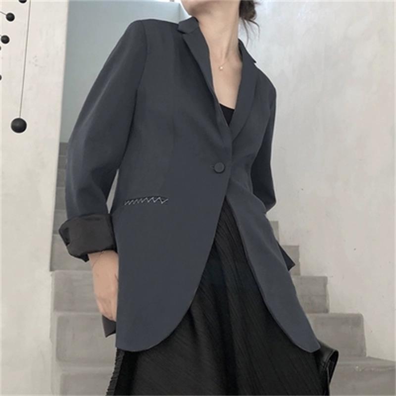 Fashion Blazers Women Jacket Coat Female New Temperament Casual Loose Thin Retro Fog Ash  Jacket Women Blazers Small Suit Women