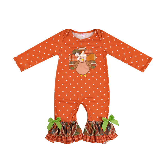 b3daa3984c77 Thanksgiving Day Baby Girls Boutique Romper Baby Romper Popular Infant  Ruffle Clothing Newborn Romper GPF807-