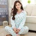 Mulheres sleepwear conjuntos de pijama de algodão de moda feminina outono inverno 100% da frente aberta solto da longo-luva espessamento salão
