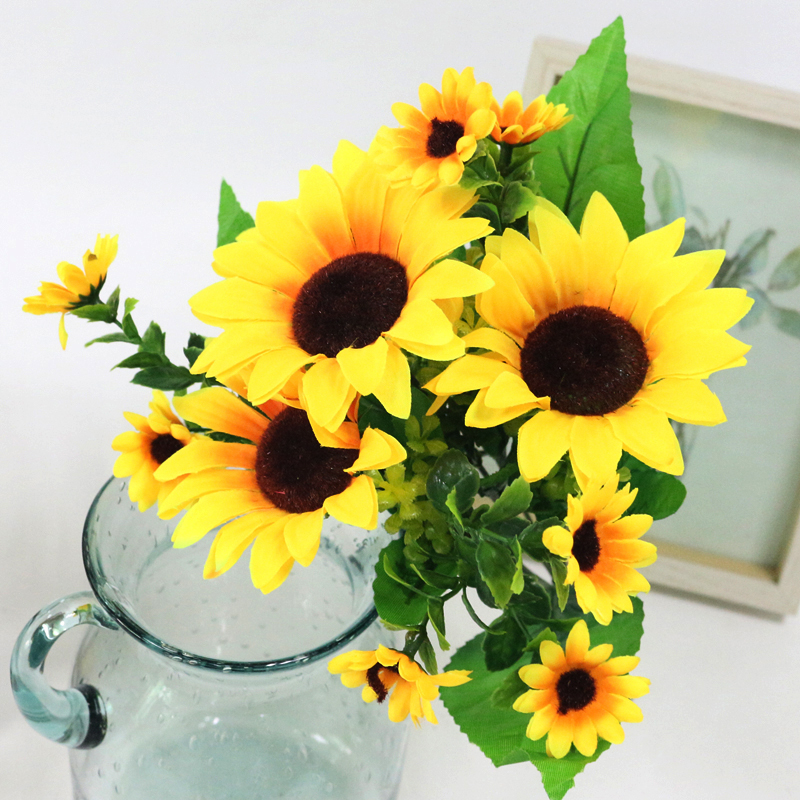 JAROWN Simulation Sunflower Bouquet Artificial Silk Fake Flowers For Home Office Tabletop Decor Wedding Decorations (5)