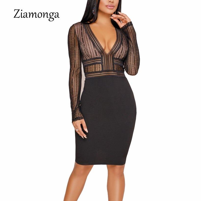 6ab078bc1c436 Ziamonga Plus Size S XXL Mesh Patchwork Bodycon Dress Sexy Clubwear ...