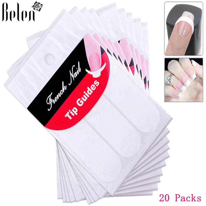 Belen Manicure Nail Art DIY French Manicure Guides Sticker For Women Brand Women Makeup Tools For Nail Art 20 Packs nail clipper cuticle nipper cutter stainless steel pedicure manicure scissor nail tool for trim dead skin cuticle