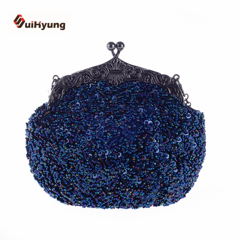 New Women's Hand-beaded Handbags Retro Sequins Beads Evening Bag Wedding Party Bridal Clutch Purse Ladies Chain Shoulder Bag new women s retro hand beaded evening bag wedding bridal handbag chain shoulder bag stitching sequins diamond stone day clutches