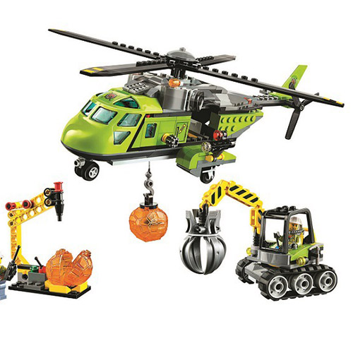 Bela 10640 City Series Volcano Supply Helicopter Geological Prospecting Building Block Bricks Compatible Legoings Volcano