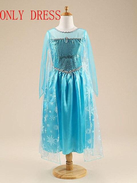 Платье Эльзы для девочек; Новинка; костюмы Снежной Королевы для детей; платья для костюмированной вечеринки; платье принцессы; disfraz carnaval vestido de festa infantil congelados - Цвет: elsa dress F
