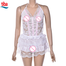 TB-0142 Lace Sexy Passion Lingerie Backless Halter Babydoll G-string Dress Sexy Nightgown Girl Sleepwear Night Dress