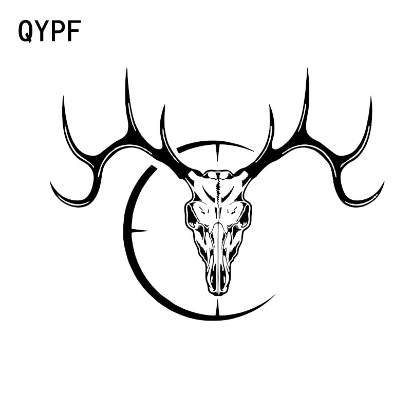 QYPF 18.2*13.8CM Interesting Deer Hunter Skull Gun Scope Graphic Car Sticker Vinyl Decoration Black Silver Decoration C16-0061