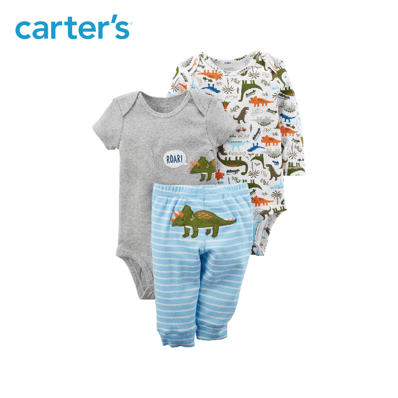 f7e712187 Mouse over to zoom in. 3pcs Dinosaur print bodysuits pants clothing sets  Carter's baby ...