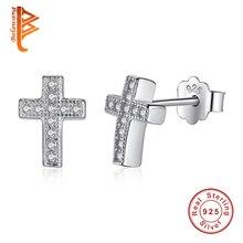 100% 925 Sterling Silver Stud Earrings Austrian Crystal From Swarovski Cross Earrings Women Wedding Jewelry Boucle D'oreille