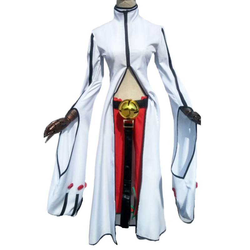 BlazBlue Calamity Trigger Cosplay Kokonoe White Uniform Costume with ears and hand accessory