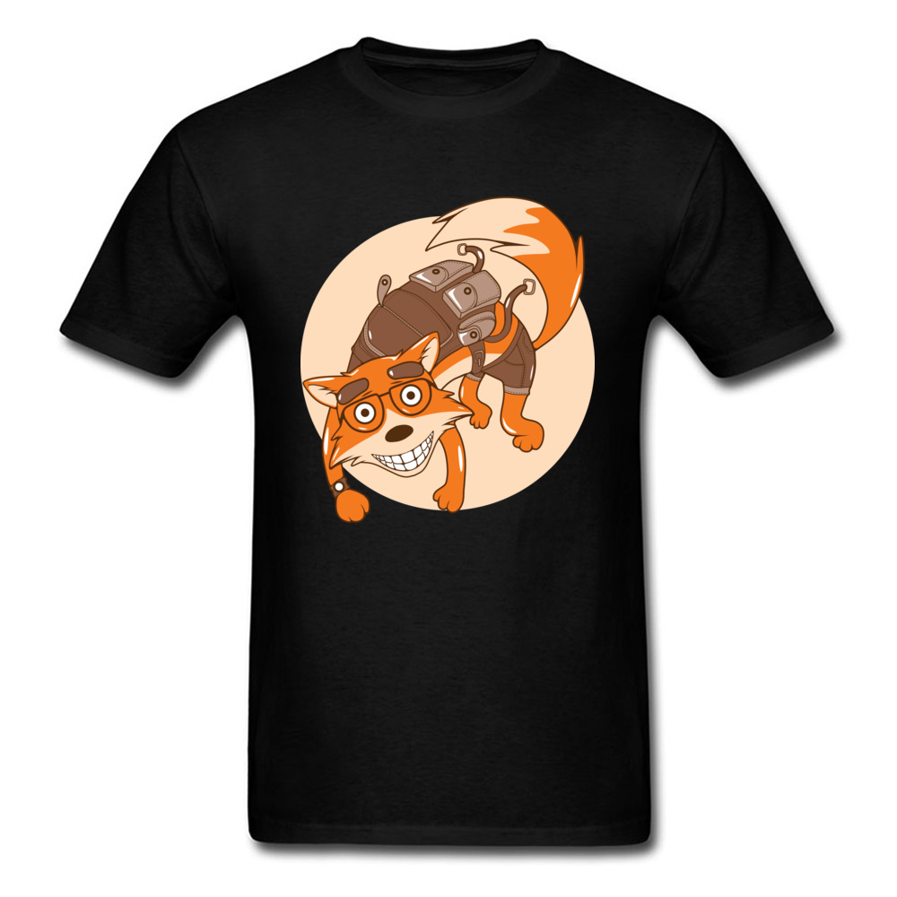 Mr Fox Printed On Tops T Shirt Crew Neck Father Day Pure Cotton XXXL T Shirts Men Casual Tee Shirt Funny Anime Comic