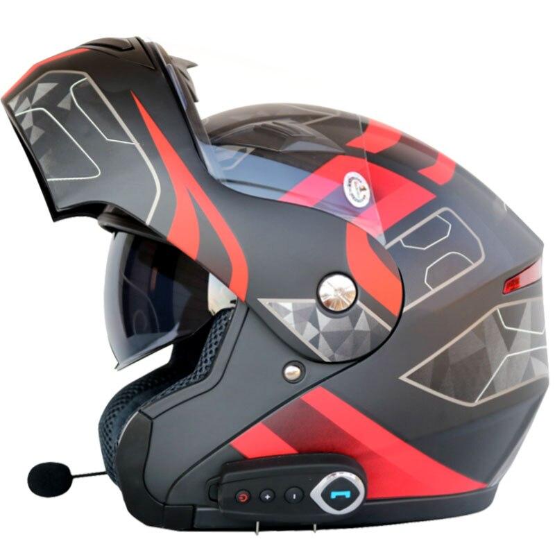 Flip up moto rcycle casque homme femmes double visière avec intérieure ensoleillé bouclier moto casques Bluetooth casque casque avec FM radio