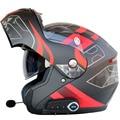 Casco de moto abatible para hombre y mujer con visera dual con casco interior de protección solar para moto Cascos Bluetooth con Radio FM