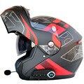 Flip up moto rcycle helm man vrouwen dual vizier met innerlijke sunny shield moto helmen Bluetooth headset helm met FM radio
