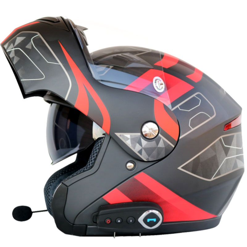 Flip up motorcycle helmet man women dual visor with inner sunny shield moto helmets Bluetooth headset helmet with FM Radio цена 2017