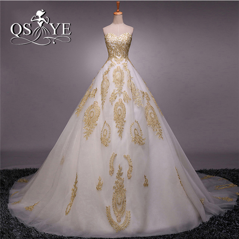 White and Gold Long Prom Dress
