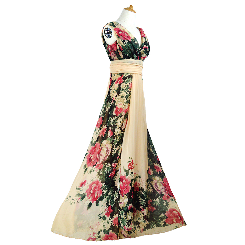 Flower Floral Print Chiffon Bridesmaid Dresses 2019 A-Line V-neck Cheap Formal Wedding Occasion Party Prom Dress